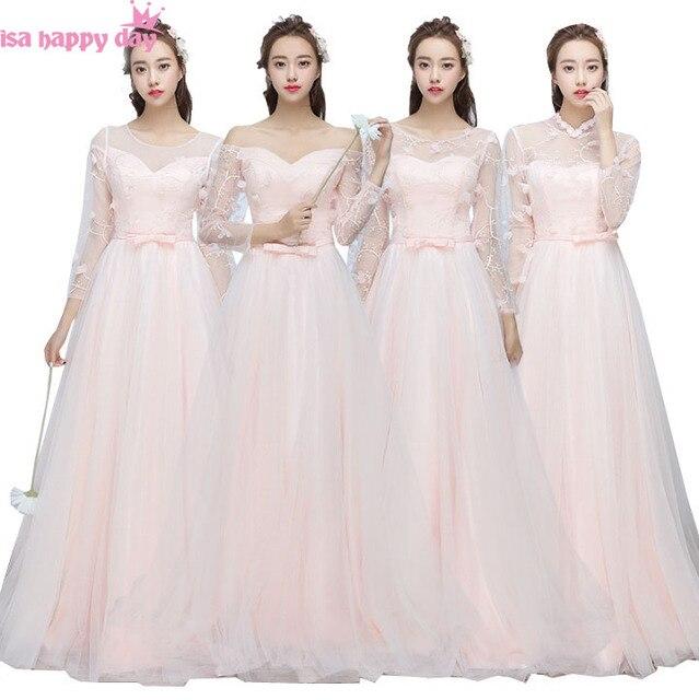 Schöne brautmädchen licht rosa brautjungfern kleider mit spitze mit ...