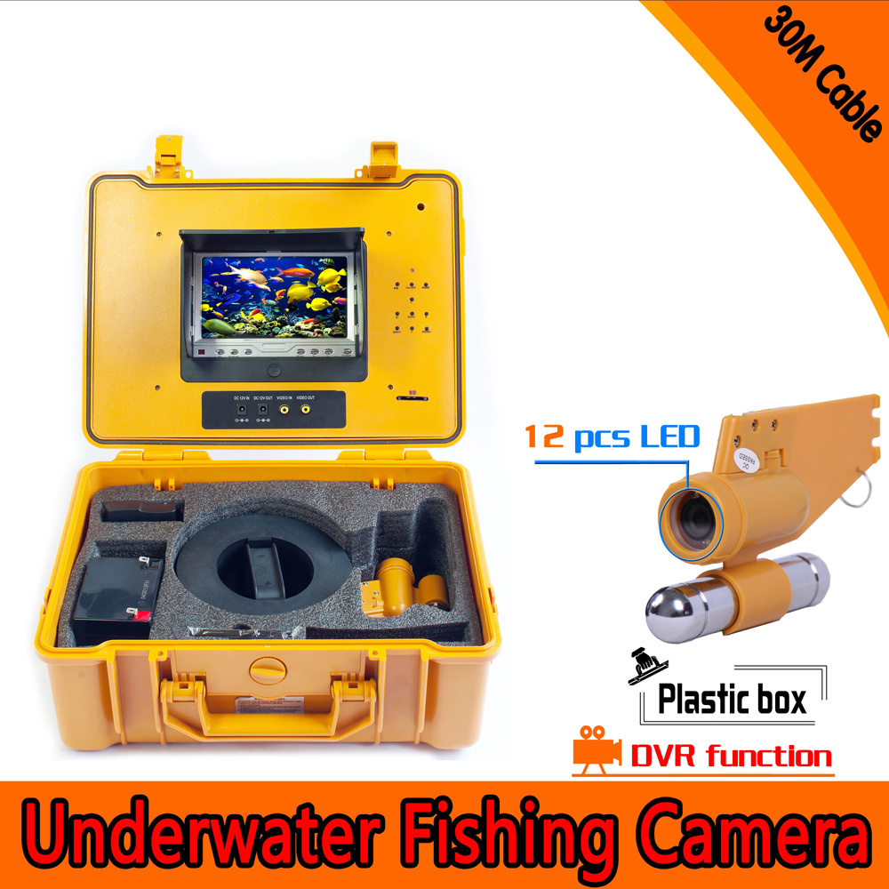(1 set) 30M Cable Underwater Fishing Camera system with DVR Function 7inch color monitor HD Waterproof Fish Finder Night Visible