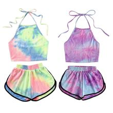 Womens Sexy Summer Two Piece Set Tie-Dye Gradient Colored Printed Halter Backless Crop Top Wide Leg Shorts Pants Suit Beachwear недорого