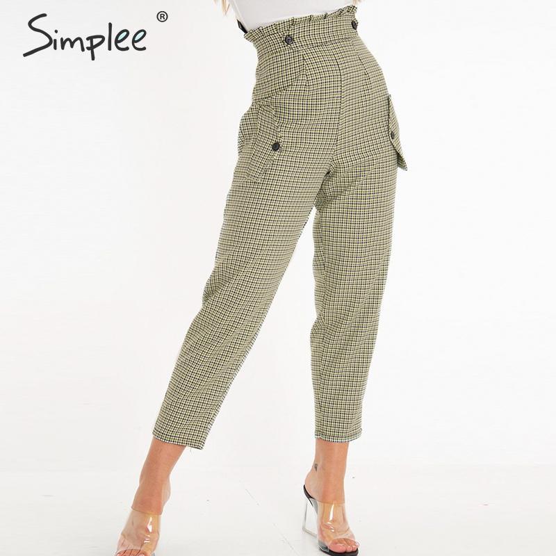 Simplee Plaid work   pants   women Ruffle high waist zipper harem   pants     capris   female Vintage button ladies autumn trousers 2019