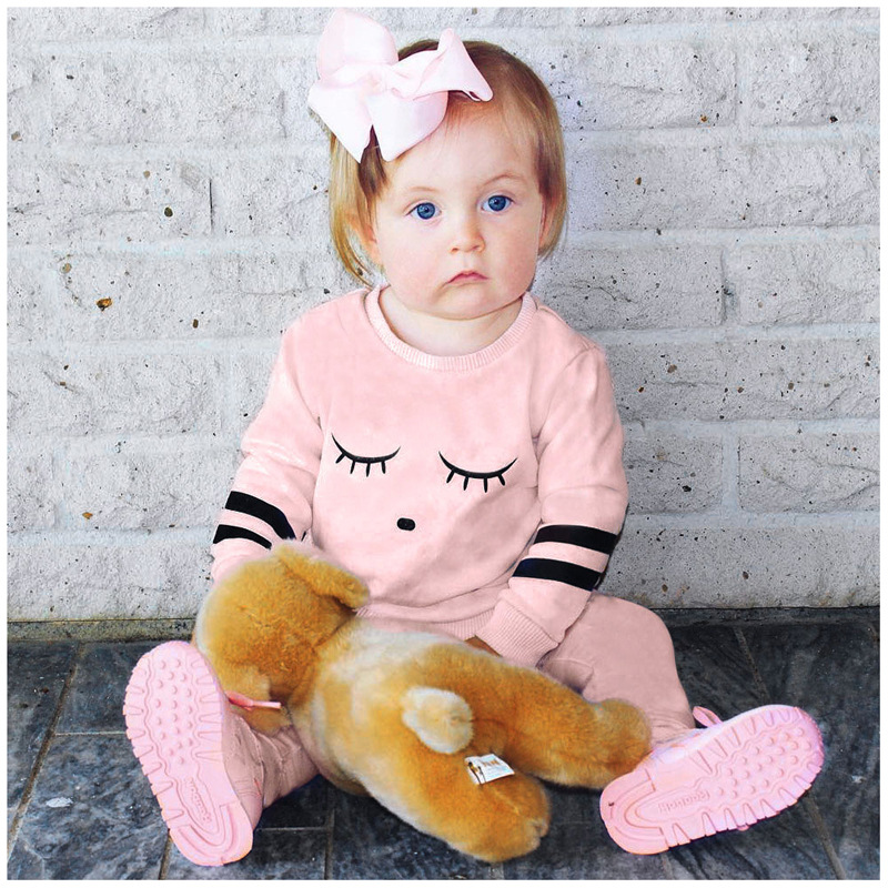 Baby girl clothes Newborn Toddler letter T-shirt Tops + Pants 2pcs Outfits Set 100% cotton pink Baby Clothing 0-24M kids sets