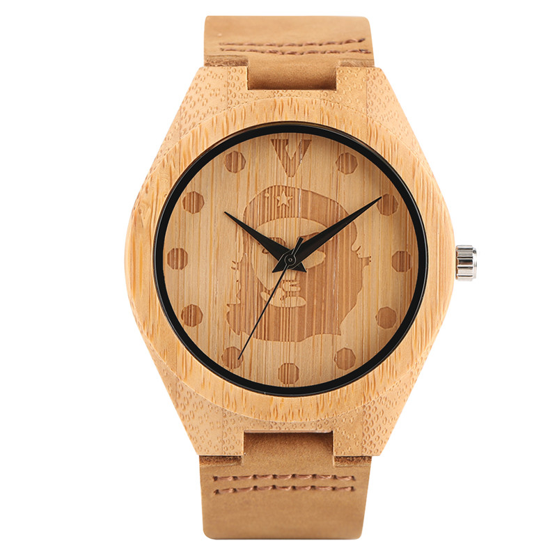Bamboo Wood Watch Men Simple Che Guveara Creative Watches Nature Wooden Quartz Bangle Genuine Leather Band Clock Boy Cool Gift