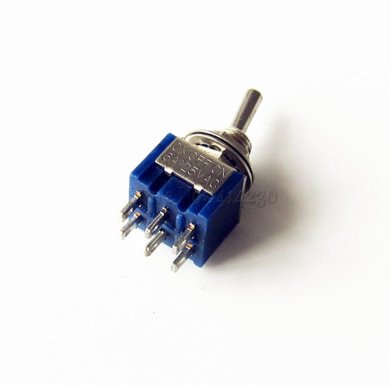 50pcs 6-Pin DPDT ON-OFF-ON Toggle Switch 6A 125VAC