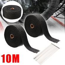 2pcs/set 10M 1 Roll Motorcycle Exhaust Thermal Tape Header Heat Wrap Resistant Downpipe For Car Accessories