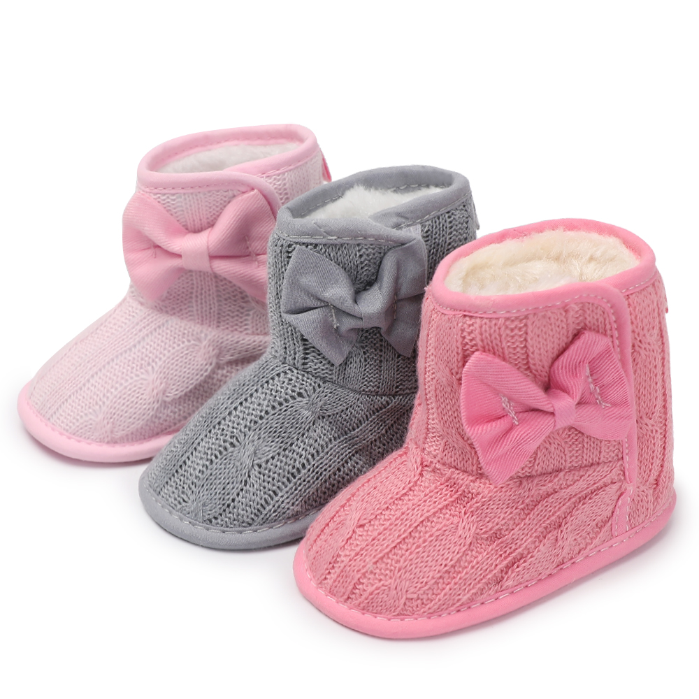 Winter Warm Wool Infant Baby Booties Newborn Shoes Knitted Butterfly-knot Kids Crib Baby Moccasins For Boys Girls 0-18 Months