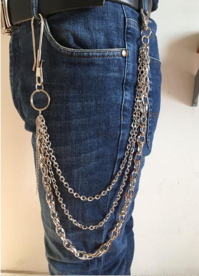 Hip Hop Punk MEN Pants Trousers Wallet Key Chain Motorcyle Jean Gothic Rock DIY Obsidian Chain Fashion Craft Decor 590mm Length