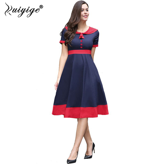 2018 Ruiyige New Arrival Women Vintage Plus Size Sailor Slash
