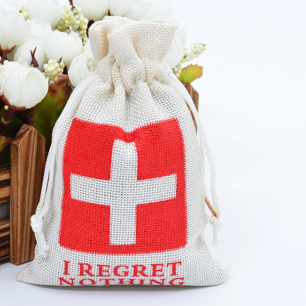 9x14cm Hangover Kit Bag Burlap Jute Drawstring Wedding Favors Gift Bag Bachelorette Party Favor Candy Gift Hessian Pouch 10pcs