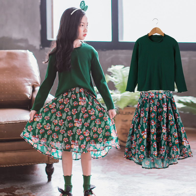 2018 2 Pcs Children Teens Girls Clothes Sets Cotton Tops T-shirt + Floral Chiffon Skirts Teenage Girls Summer Outfits Sets CC887