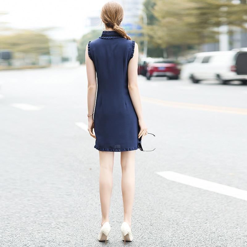 Bleu Robe Sans D'été De Une Ligne 2018 Gamme New Vintage Volants Mode Marque Femmes Profond Haut Manches Plissée Piste xn4CEwqA