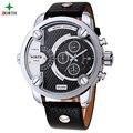 Marca de luxo Homens Relógio Do Esporte 30 M À Prova D' Água de Couro Genuíno Casual Masculino Relógio de Pulso Militar 2016 Moda de Quartzo Relógio Do Esporte Dos Homens