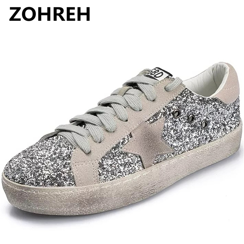 ZOHREH 2018 NEW Women Casual Shoes Glitter Leather Do Old Dirty Shoes Mixed Color Women  ...