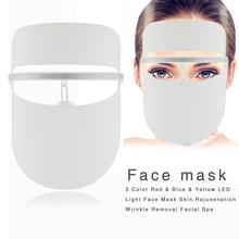 3 Color Red Blue Yellow LED Light Face Mask Wrinkle Removal