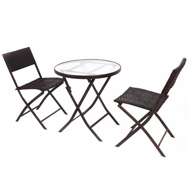 GOPLUS 3PCS Wicker Rattan Outdoor Dinning Table Chair Set Patio Furniture  Folding Backyard Ratten Garden Set