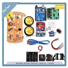 NOVA CHEGADA rastreamento Motor Inteligente Robot Car Kit Chassis Velocidade Encoder Caixa de Bateria 2WD Ultrasonic módulo Para Arduino