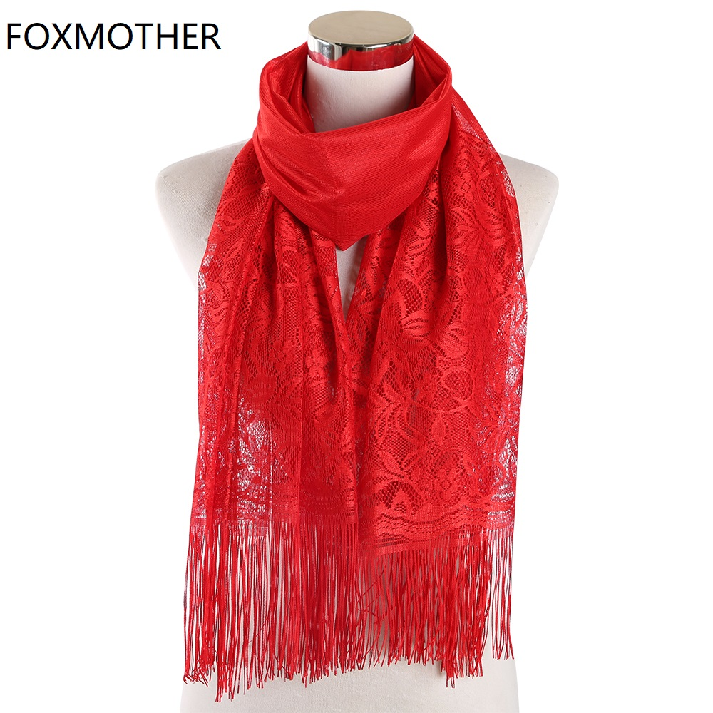 FOXMOTHER Red White Black Solid Color Floral Lace Scarf Hollow Tassel Fringe Hijab Scarves Wrap Muslim Ladies Foulard Femme