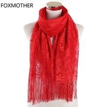 FOXMOTHER Vermelho Branco Cor Sólida Preto Floral Lace Scarf Oco Tassel Fringe Cachecóis Envoltório Muçulmano Hijab Senhoras Foulard Femme