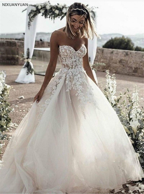 0a933aac889b2 ウェディングドレス 2019 チュールとレースアップリケビーチウェディングドレス恋人ノースリーブ A ラインの背中美しいブライダルドレス ...