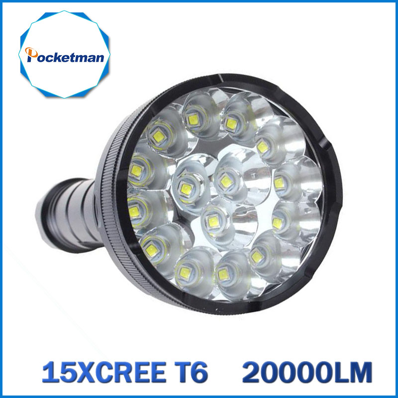 Powerful LED Flashlight 20000 Lumens Lanterna led linternas Torch 15 x CREE XM-T6 LED Waterproof Super Bright LED Flashlight 18led cree t6 led flashlight outdoor camping light lamp 20000 lumens waterproof super bright flashlight torch 1200m distance