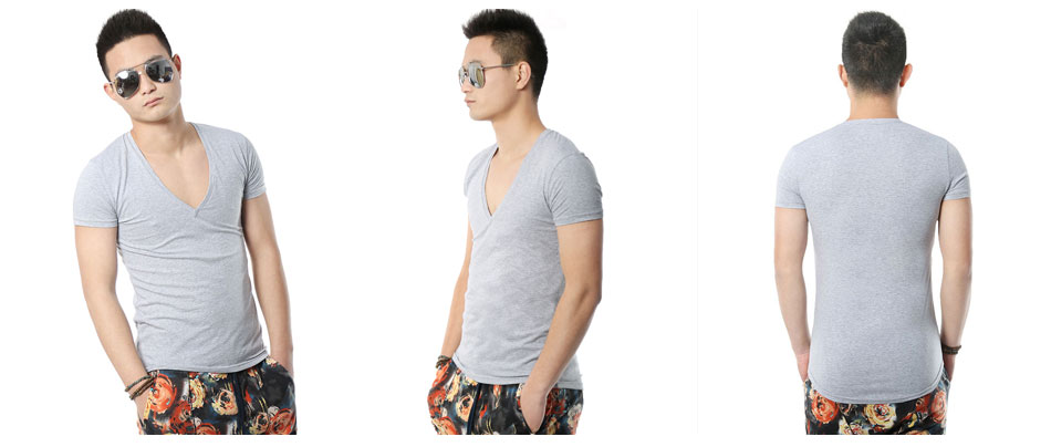 Zecmos Deep V Neck Sexy Men T-Shirt Vintage Short Sleeve Solid Color Muscle Fit T Shirt Men Top Tees Fashion 7