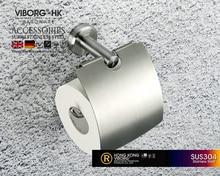 VIBORG Deluxe SUS304 En Acier Inoxydable Mur Monté Montage Tissu Porte-Papier Toilette Porte-Rouleau de Papier, satin nickel