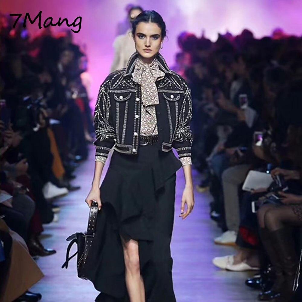 7 Mang 2018 otoño mujer Diamante Negro chaqueta de moda solapa de perforación de manga larga etapa brillo corto cuentas perlas abrigo-in chaquetas básicas from Ropa de mujer    1