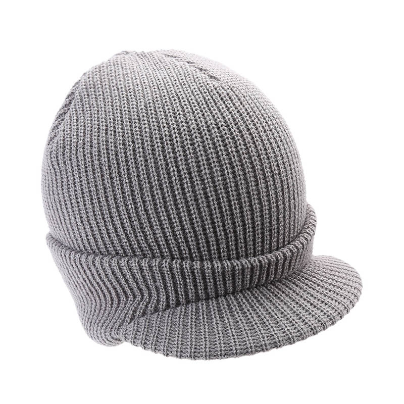 Adult Men Women Striped Rough Wool Cap Slouchy Thick Knitted Hat for Outdoor Autumn Winter FS99