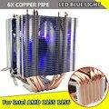 Светодиодный вентилятор для процессора Intel LAG 1155 1156 AMD Socket AM3/AM2  вентилятор для процессора 6xheat Pipe 12 В 3Pin  охлаждающий вентилятор  радиатор