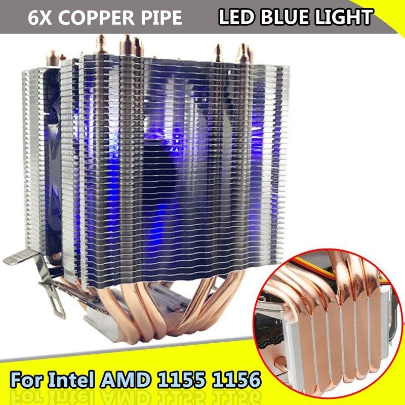 Intel Gal 1155 de 1156 para AMD Socket AM3/AM2 la luz azul de luz LED ventilador de CPU 6 xHeat de computadora 12 V 3Pin refrigerador ventilador de refrigeración disipador de calor