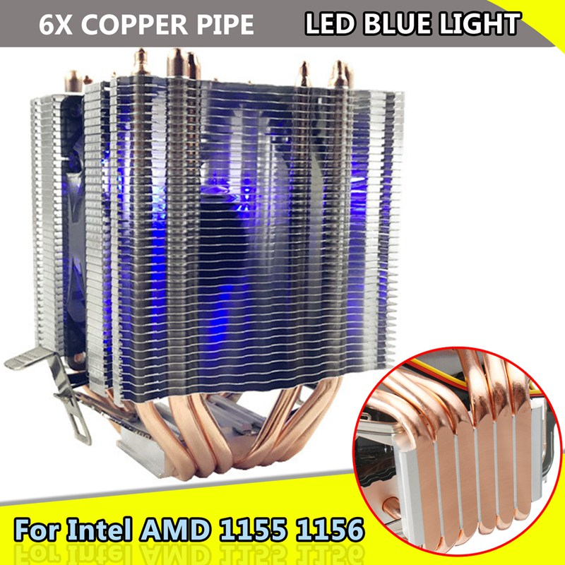 Für Intel LAG 1155 1156 für AMD Sockel AM3/AM2 LED Blau Licht CPU Fan 6 xHeat Rohr Computer 12 v 3Pin Kühler Lüfter Kühlkörper