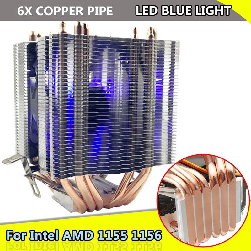 for Intel LAG 1155 1156 for AMD Socket AM3/AM2 LED Blue Light CPU Fan 6xHeat Pipe Computer 12V 3Pin Cooler Cooling Fan Heat Sink for intel amd platform 1155 1150 am3 desktops computer cpu 4 copper heat pipes cooler heat sink fin fan quiet radiator 4pin
