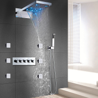 Thermostatic 4 Functions Shower System Modern Wall Mounted LED Rainfall Waterfall Shower Panel Head High Flow Body Jets Massage