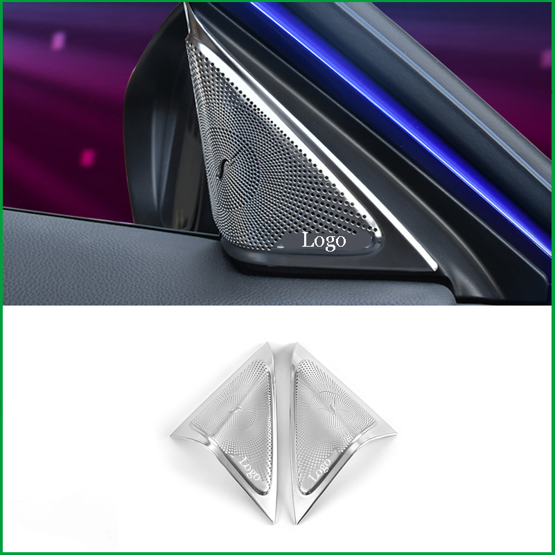 For <font><b>Honda</b></font> <font><b>Accord</b></font> 10th <font><b>2018</b></font> 2019 Front Door Triangle A Pillar Audio Speaker Decoration Cover Sticker Trim Car <font><b>Accessories</b></font> image