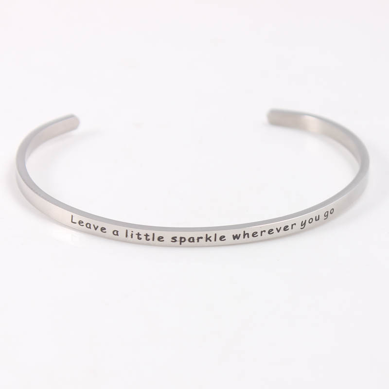 Stainless Steel Engraved Words Bracelet Mantra Bangles For Women men friends family Best Gift in Bangles from Jewelry Accessories
