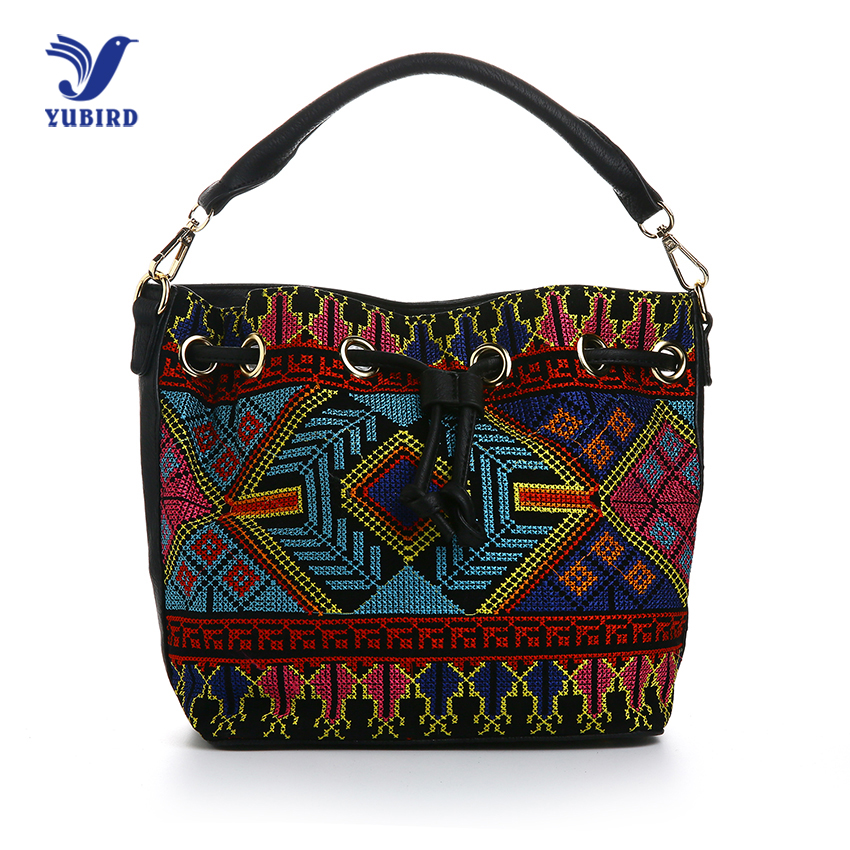 YUBIRD Women Handbag Casual Tote Bags Shoulder Bag Female Pu Leather National Style Embroidery Crossbody Bags
