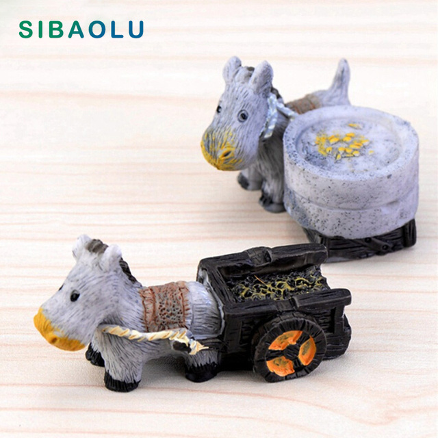 Donkey With Cart Mill Figures Miniature Figurine Mini Fairy Garden Micro  Landscape Cartoon Animal Statue Resin