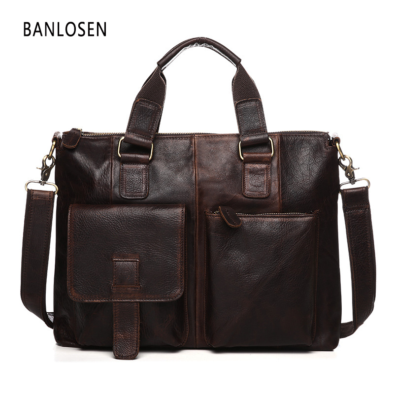 Genuine Leather Men Bag Crazy Horse Leather Men Handbags Casual Business Laptop Shoulder Bags Briefcase Messenger Bag padieoe men s genuine leather briefcase famous brand business cowhide leather men messenger bag casual handbags shoulder bags