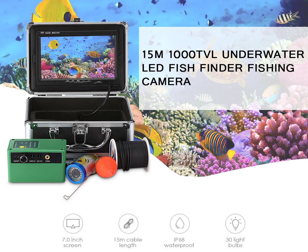 15M HD 1000TVL Fish Finder Underwater Ice Fishing Video Camera Kit 7 LCD Monitor 15 white