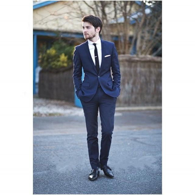 Envío libre traje masculino Personalizada Desgin Traje de Dos piezas Azul hombres de traje de boda de la venta Caliente