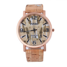 reloj mujer 2016  hotselling fake wooden wristwatch for students brand new quartz watch of  pu leather band 4 numbers dial watch