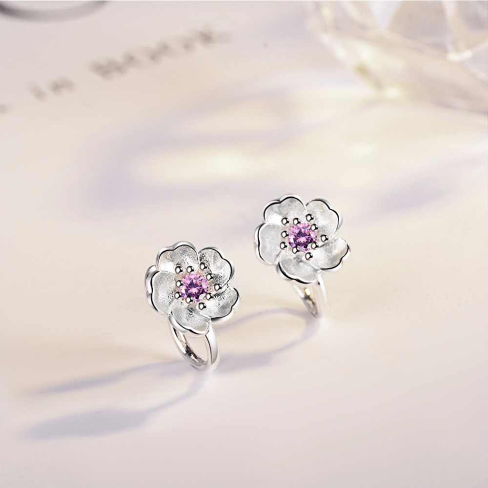 Kinitial יקירי דובדבן פרחי עגילים עם קריסטל לילדה חמוד אוזני פשוט שיק קליפ עגיל תכשיטים ללא פירסינג oorbellen