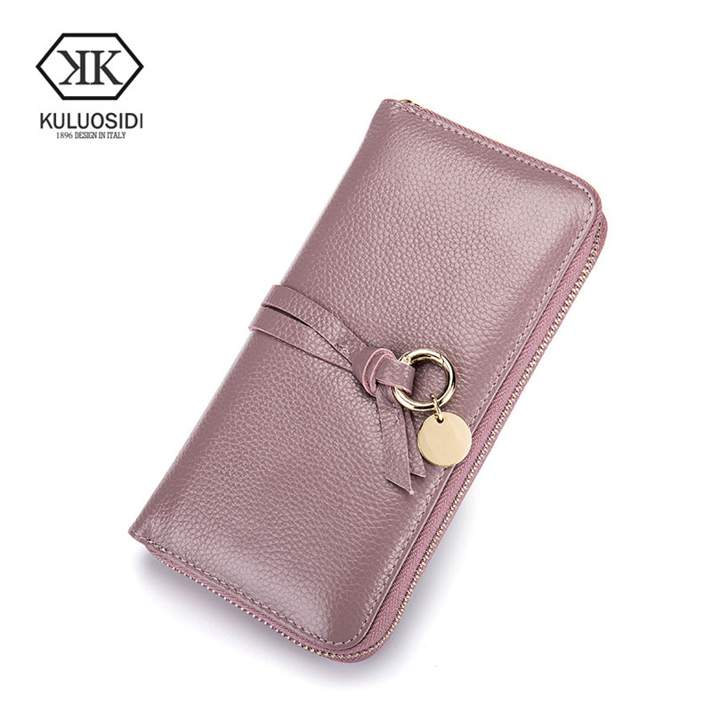 KULUOSIDI 2017 Fashion Women Wallets High Quality Genuine Leather Money Bag Long Design Clutch Cowhide Wallet Women Female Purse кольца page 7