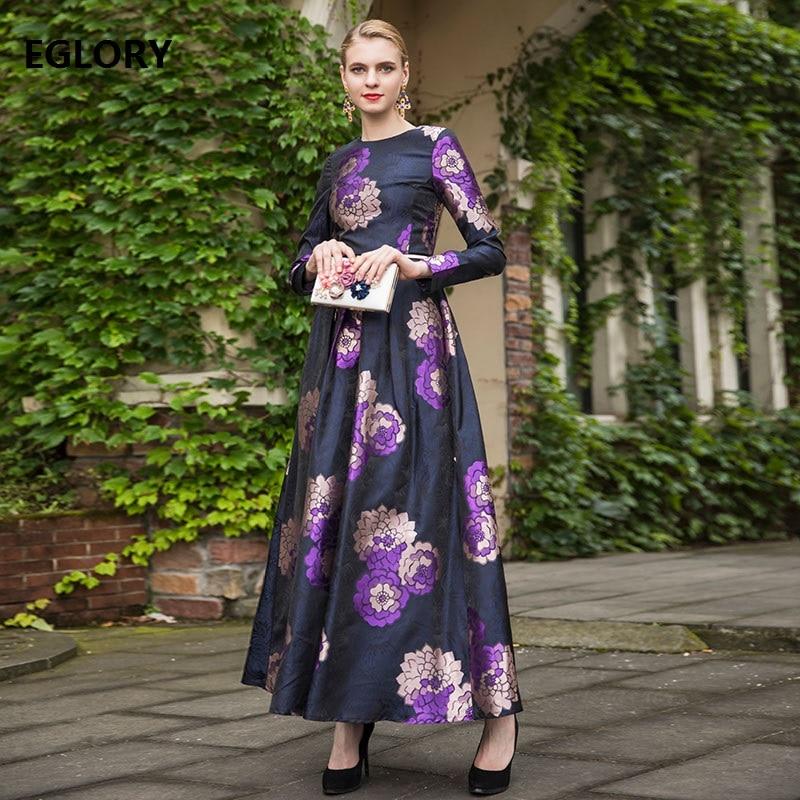 Élégant violet fleur imprimer longue robe nouveau luxe vêtements femmes o-cou à manches longues soirée grande taille Maxi robe Vintage