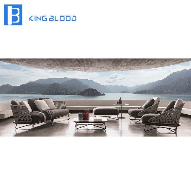 US $600.0 |Italian modern style rope teak wooden steel frame sofa set  furniture-in Garden Sofas from Furniture on Aliexpress.com | Alibaba Group