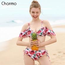 Charmo 2019 New Bikini Set Ruffle Style Swimsuit Rose Print Bikini Swimsuit Graceful Floral Bikini Swimwear Strappy Bikini Sets цены