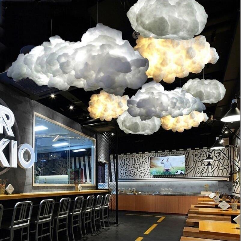 Современный Креативный Романтический белый Шелковый хлопок облака подвесной светильник белый мягкий плавающий подвесной светильник гост...