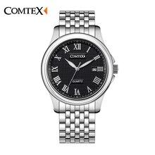 Comtex negócio relógio dos homens liga número romano mostrador do relógio analógico relógio de pulso movimento de quartzo calendário à prova d' água