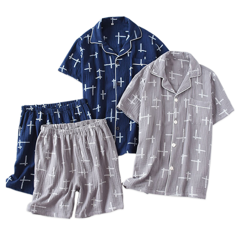 Summer Breathable Sleepwear Men Pajama Comfortable Cotton Pyjama Homme 2 Piece Pajamas Suit Short-sleeved Underwear Male