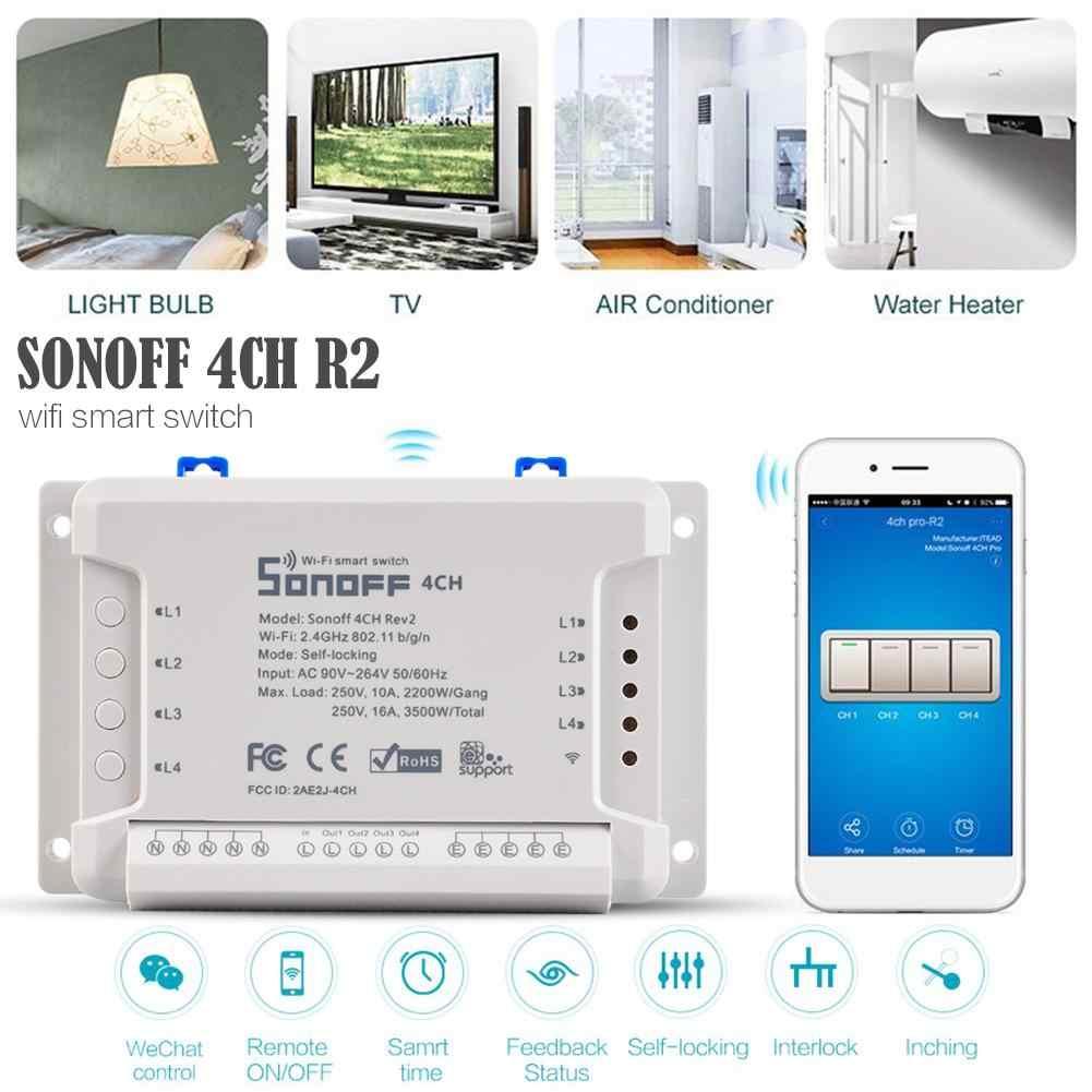 Sonoff 4CH R2 433 mhz 4 canales Banda RF inalámbrico remoto Wifi interruptor inteligente Interlock relé Alexa Google Home