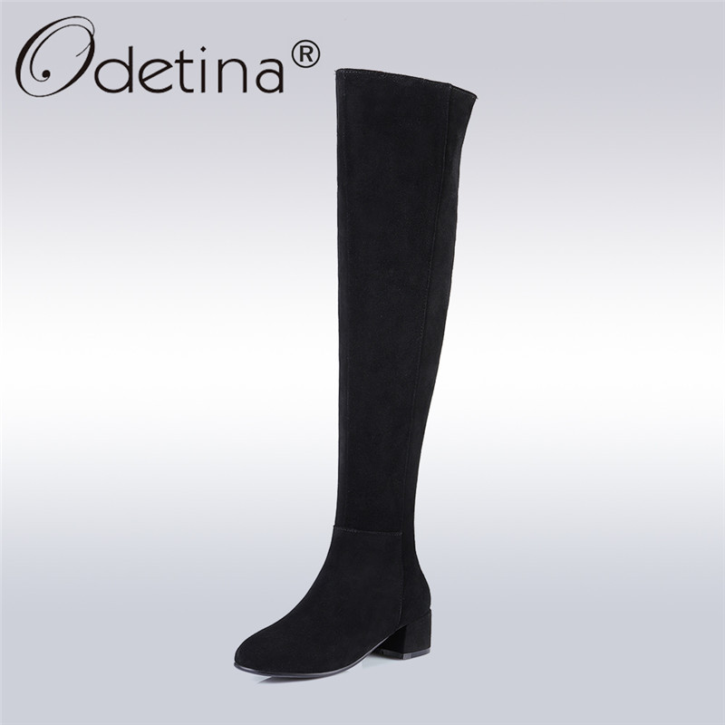 Odetina 2017 Fashion Genuine Leather Women Over The Knee Boots Winter Warm Cow Suede Thigh High Boots Chunky Heel Plus Size 45 odetina 2017 new fashion autumn winter women thigh high boots blue denim over the knee boots high block heel shoes plus size 43